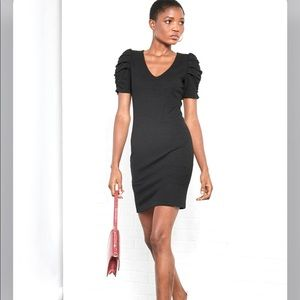 MNG | Mango Frunce Ruched Sleeve Dress Black 6